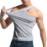 2017 New FashionMen's Close-fitting Vest Fitness Elastic Casual O-neck Breathable H Type All Cotton Solid Undershirts Male Tanks