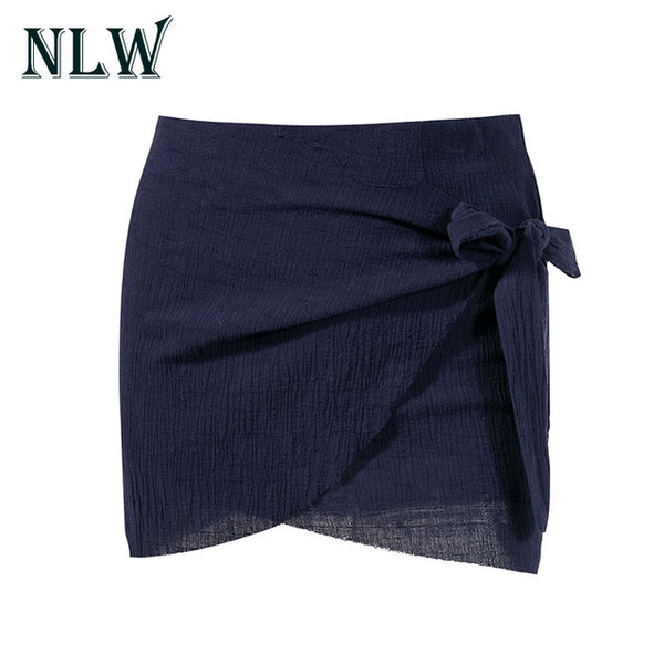 NLW Sexy Wrap Bow Women Black Skirt 2017 Beach Casual Pencil Short white Skirt Mini Split Short Bodycon High Waist Fashion Skirt