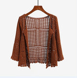 3 Colors Women's Three Quarter Sleeve Crochet Shrug Female Lace Hollow Out Sweater Cape Ladies Cutout Geometric Cardigan Shrug