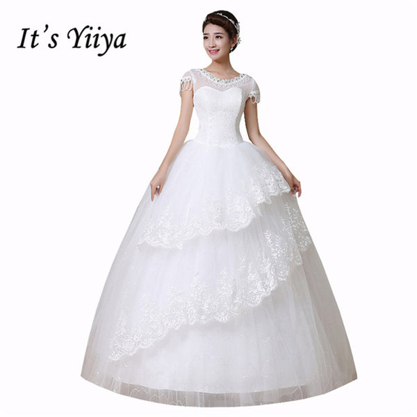 It's Yiiya Cheap White O-neck Short Sleeves Illusion Wedding Dresses Sequins Simple Floor Length Princes Vestidos De Novia HS149