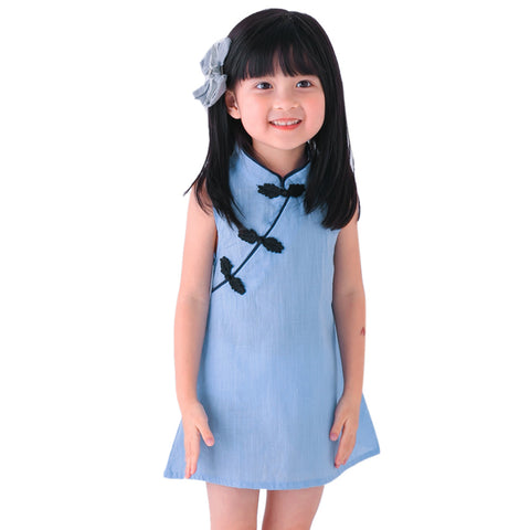 Summer Baby Girls Dresses Chinese Traditional Style Cheongsam Vintage Solid Color Sleeveless Dresses Baby Cothes Costume Dresses