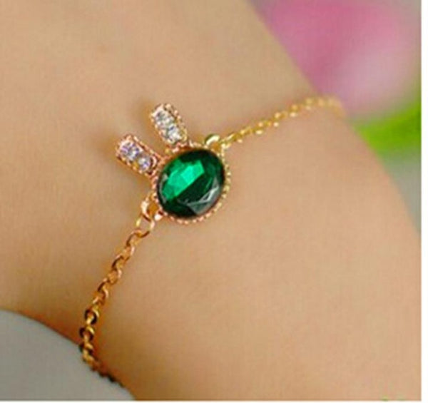 2017 Fashion Jewelry Cute Bunny Rhinestone Charm Bracelets & Bangles Blue Glass Bracelets For Women Gift Pulseira Feminina