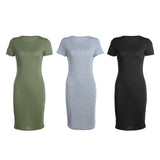 Women casual Solid Color Package Hip Slim Fit Elastic Dress