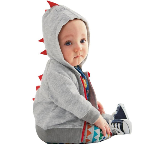 Gray Dark Gray Casual Autumn Baby Boys Hooded Sweater Coat Dinosaur Shape Zipper Sweatshirt for Toddler Boys Girls Clothes