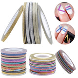1mm 12 Color Glitter Nail Striping Line Tape Sticker Set Art Decorations DIY Tips For Polish Nail Gel Rhinestones Decorat New