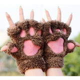 1Pair Women Warm Soft Bear's Paw Furry Thicking Half Finger Gloves Fluffy Mitten
