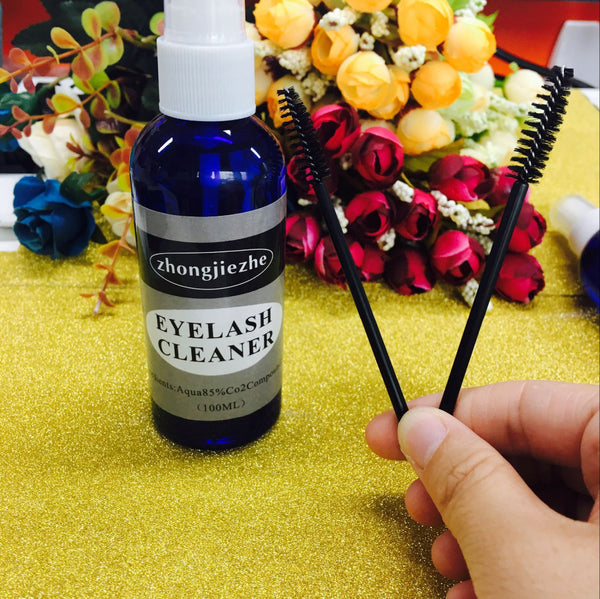 1 Bottle/Pack 100ML Eyelash Cleaner For Eyelash Extension To clean Eyelashes Before Planting Eyelash 2 Pcs brush As Gift