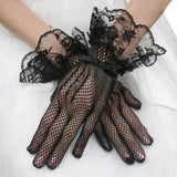 1 Pair Hot Sale Black White Color Lace Fishnet Gloves Lace Gloves Fingered Gloves For Party guantes mujer