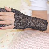 1 Pair Hot Sale Women's Charming Sunscreen fingerless Gloves Driving Anti-uv Lace Party Gloves guantes sin dedos mujer