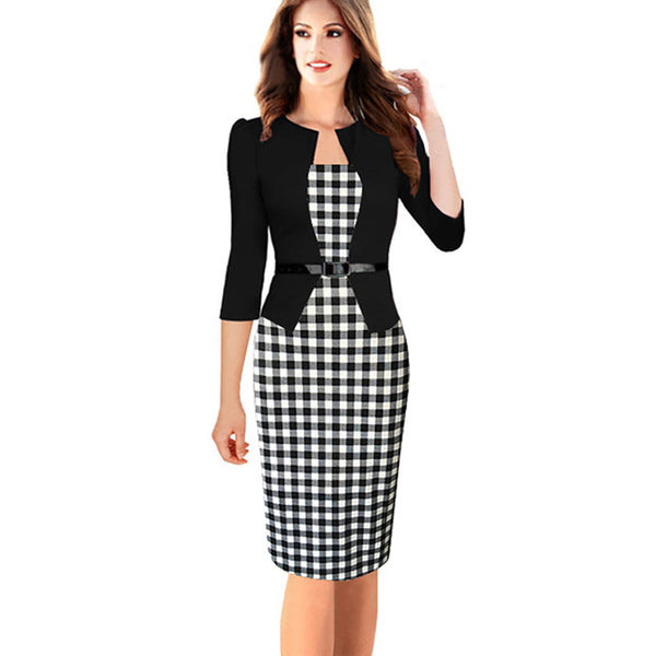 Oxiuly Women's Faux Twinset Belted Tartan Floral Houndstooth Plaid Print Patchwork Work Business Pencil Sheath Bodycon Dress
