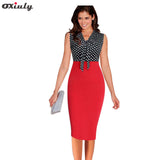 Oxiuly Women Polka Dot Print Dresses Summer Work Pencil Dress Black Patchwork White Bow Office Knee Length Sheath Dresses