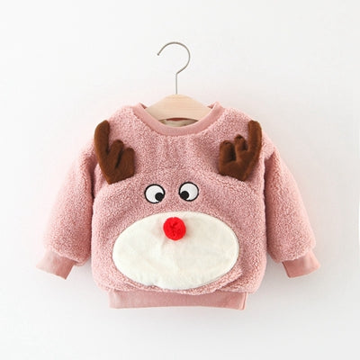 Newborn Christmas children winter children 's clothing boys girls lovely cartoon elk sweater baby plus cashmere coat baby shirt