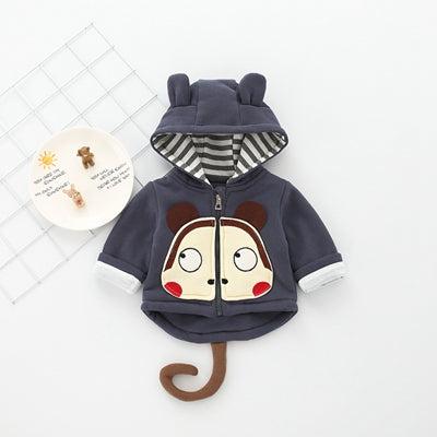 Autumn and winter  children's clothing cartoon monkey clothes off the clothing boy and girls jacket zipper thickening 553