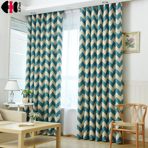 Blue Stripe Printed Blackout Curtains for Living Room Modern Window Blinds for Marriage Room Study Room Kids Cortinas WP195B
