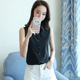 New Fashion Women Sexy Turn Down Collar Blouse Sleeveless Plus 4XL Solid Color Shirt Elegant Casual Brand Design Tops MZ1504