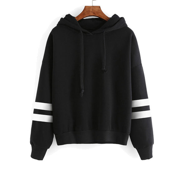 Causal Autumn Hooeded Striped Sweatshirt Women Long Sleeve Pullover Streetwear Fleece Hoodies Drop Shipping