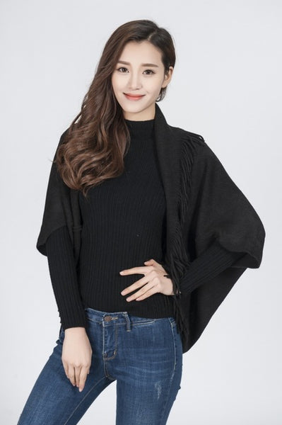 Visual Axles Women Short Shrug Tops Autumn Casual Fashion Sleeve Solid Stretchy Fabric Open Stitch Black Cardigans With Tassels