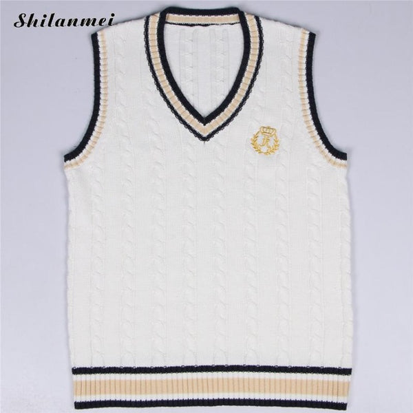 Plus Size 5xl Women Vest Knitted Embroidery Sweater V-neck Sleeveless 2017 Korean Japanese School Uniform Sweater Women Knitwear