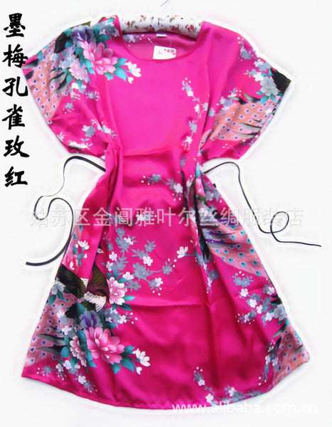 White Peacock robe Chinese Women's Silk Rayon Robe Bath Gown New Arrival pajamas One Size Flower Free Shipping