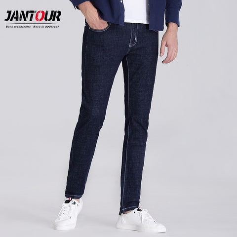 jantour 2017 luxury Men's brand blue black jeans men cotton skinny Slim Solid color Casual Stretch Denim jean mens Pants male