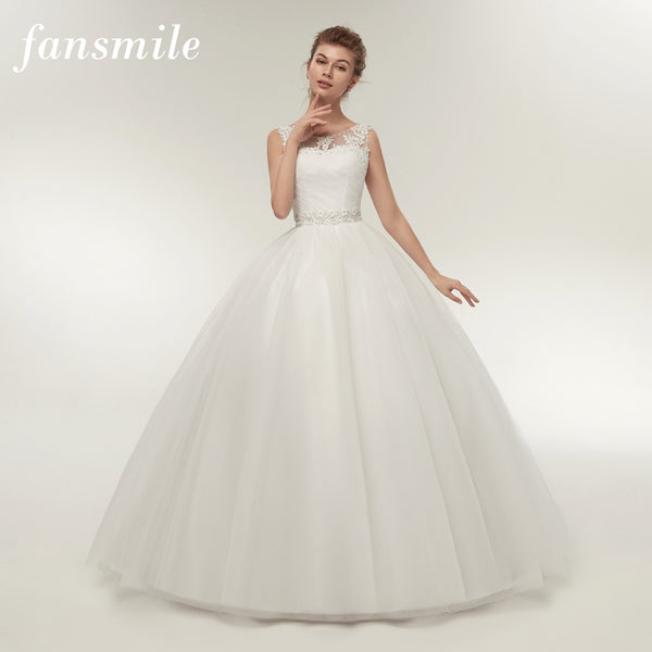 Fansmile Real Photo Cheap Double Shoulder Lace Up Ball Wedding Dresses 2016 Vintage Plus Size Bridal Dress Wedding Gown FSM-027F