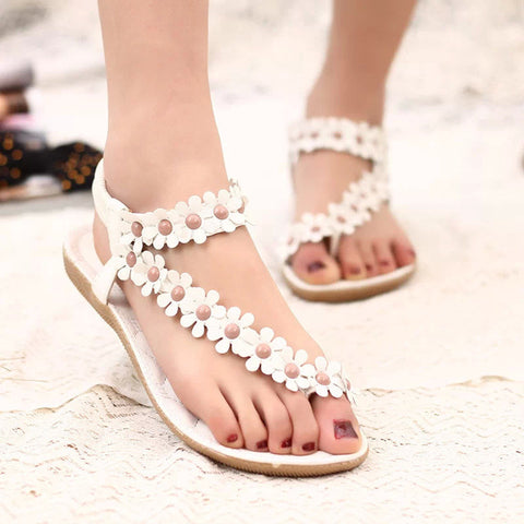 Women shoes flat sandals comfort sandals women Summer Classic beading 2015 fashion Summer high quality flower sandals