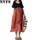 2018 New summer dress loose large size Long dress Vintage Cotton Linen pacchwork women Dress Vestidos Robe Elbise