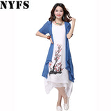 2018 New summer dress women clothing Small fresh long dress Fake two pieces Dress casual loose large size Vestidos Elbise Robe