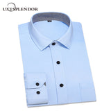 13 Colors Men Long Sleeve Dress Shirts 2018 Spring New Slim Fit Man Business Wear Shirt Solid and Patchwork Style 4XL YN1001