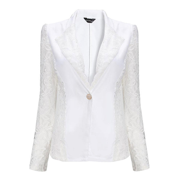Brand New Fashion Women OL Formal Slim Blazers Suits Jacket Black White  Sheer Lace Patchwork Coat Lady Suit Outwear Size S-XL