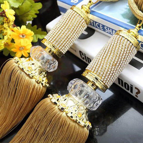 Window Diamond Crystal Rope Tie Backs Blinds Fringe Tiebacks Room Tassel Decoration 7 Colors Curtains For Living Room CP068B