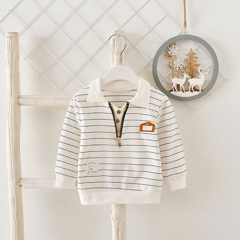 2018 Autumn Spring Casual Baby Babi Children Clothing Boys Infants Striped Cotton Long Sleeve T-shirt Tops Tee S1034