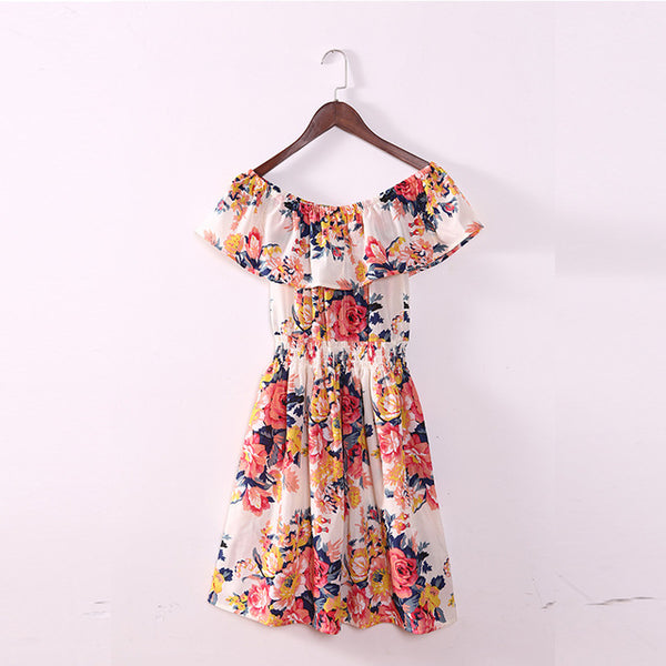 2018 Summer Dress Woman's Shoulder Kind Of Bohemian Style Printed Clothing Lotus Leaf Thin Knee Above Mini Beach Dresses S353