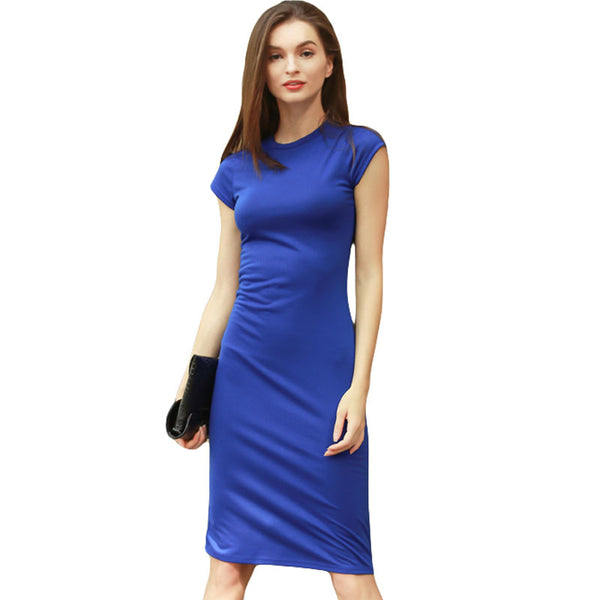 2018 Fashion Women T Shirt Dress Solid Summer Short Sleeve Pencil Office Dress Knee Length Work Bodycon Party Dresse Plus Size