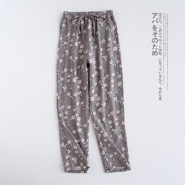 Spring and Autumn New Ladies Trousers Japanese Cotton Knitted Pajama Pants Double Gauze Loose Trousers Large Size Home Pants