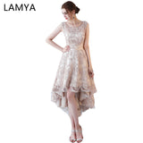 Lamya Princess Short Front Back Long Tail Cocktail Dresses Elegant 2018 Lace Up Evening Party Gown Women Special Occasion Dress