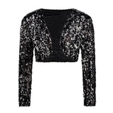 Sparkly Sexy Women Sequin Cardigan Jacket Coat Long Sleeve Short Cropped Bolero Shrug Clubwear Vintage Party Costumes