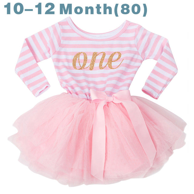 30f29537783 2018 Autumn Baby Clothing Stripe Cute Bow Casual Little Girl Dress For  First Birthday Party Toddler Girl Clothes For Baby Child