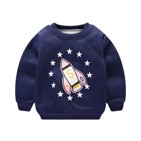 Casual Autumn Winter Kids Boys Girls Cartoon Printed Plus Velvet Long Sleeve O-neck Pullover Sweatshirts Tops MT1452
