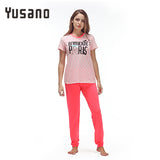 Yusano 2017 Pajamas Cotton Cute Heart Short Sleeve Pijama De Unicornio Bow Letter Print Red Green (T shirt +Long Pants) Pyjamas
