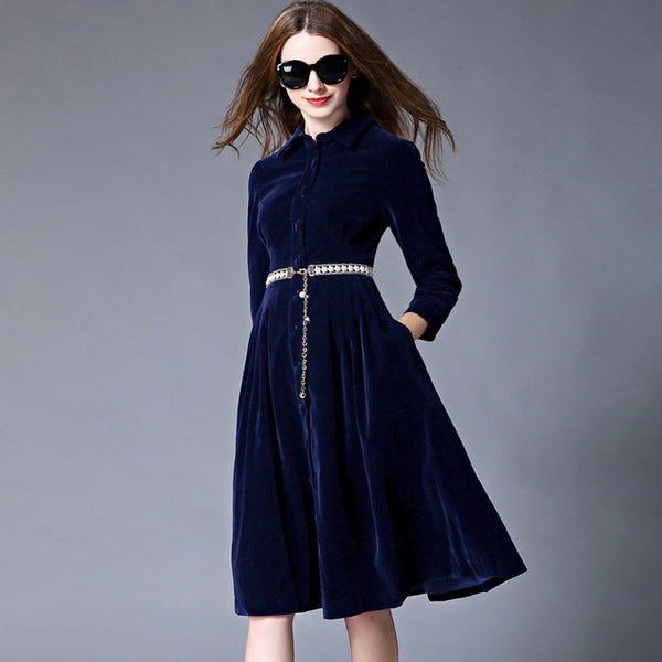 OL Style Blue Velvet Dress Winter Dresses Women 2018 Vestido Longo Woman Long Sleeve Office Dress Ropa Mujer Robe Longue 732102