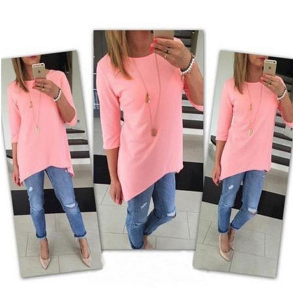 1PCS Ladies Female Beach Casual Tunics Women's Fashion Shirt 3/4 Sleeve Long Tops Women cloth