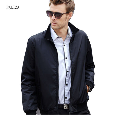 FALIZA 2018 Men Fashion Bomber Jackets Business Casual Clothes Boss Thin Windbreaker Mens Jacket Coat for Spring Autumn SM-JK-Q