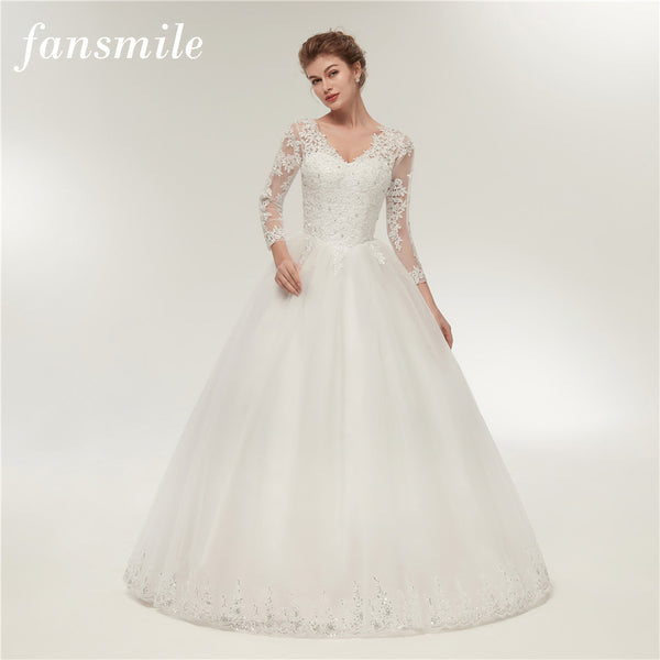 Fansmile Real Photo Vintage Lace Up Ball Wedding Dress Long Sleeve 2017 Customized Bridal Gowns Plus Size Free Shipping FSM-323F