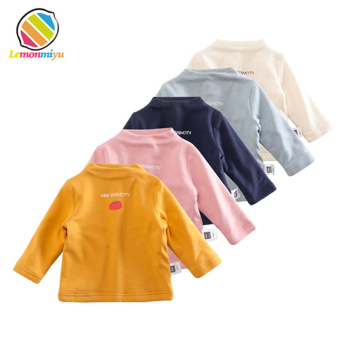 Lemonmiyu Baby Winter Solid Turtleneck Tees Thicken Cartoon Full Infants Fashion Cotton Tops Plus Velvet Print Warm Newborn Tees