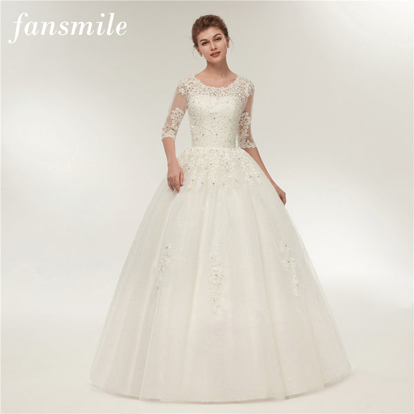 Fansmile Real Photo Vintage Lace Wedding Dresses 2017 Customized Plus Size Bridal Gowns Vestido de Noiva Free Shipping FSM-130F