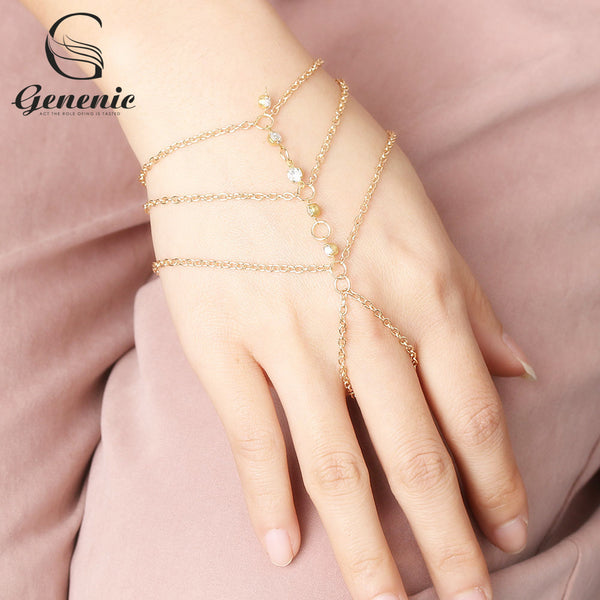 1 Piece Alloy Slave Hand Finger Bracelets Women Fashion Charm Harness  Chain Bracelet Women Jewelry