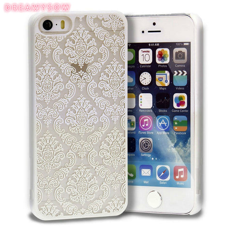 Top Quality Hard Plastic Cellphone Protective Case For iPhone 5S 5 SE Bag Case With Slim Damask Vintage Lace Pattern Back Cover