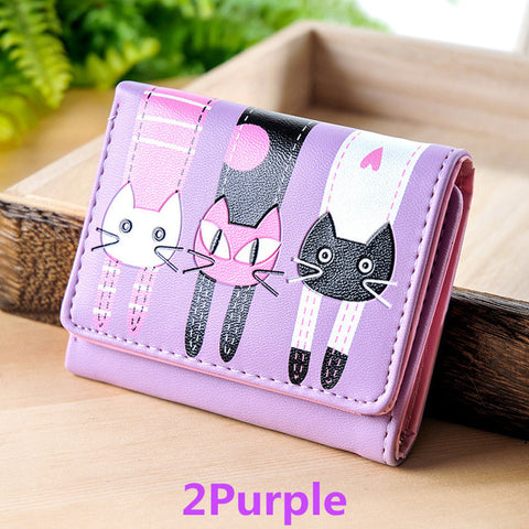 2017 Fashion Zipper Short Women Wallets Cat Pattern Luxury Brand Leather Embroidery Small Hasp Cion Purse Card Holder Handbags