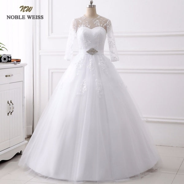 NOBLE WEISS Sexy Lace Vintage Ball Gown Wedding Dress 2018 Romantic Wedding Gowns Vestido de Noiva With Sleeves